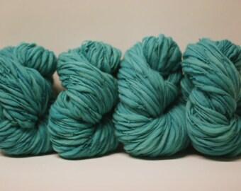 Thick and Thin Yarn Merino Bulky Hand Spun Wool Slub  Hand Dyed tts(tm) Marina 000x