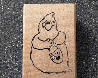 Ghost Rubber Stamp, Cute Ghost Rubber Stamp, Trick or Treat, 1052D Raindrops on Roses