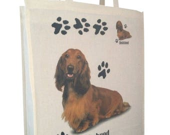 Dachshund Tan Longhaired Dog Paws Cotton Shopping Tote Bag with Gusset and Long Handles