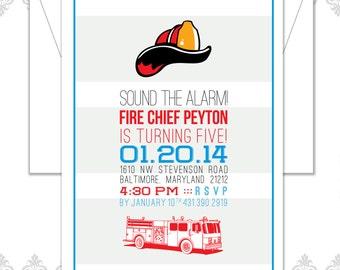 Fire Truck Birthday Invite
