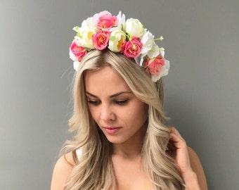 White flower crown romantic wedding flower crown peach flower headpiece adult carnival flower headband wedding headband bridal flower crown