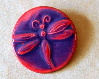 Handmade Ceramic Pin Brooch with a Bold Magenta Dragonfly -  Stoneware Christmas Gift