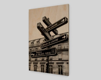 Parisian Signs Wood Print, 1:50 Limited Edition / home decor / decoration / photo / photography / black and white /