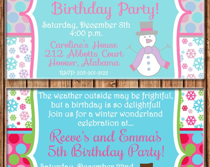 Boy or Girl Invitation Winter Wonderland Snow Snowman Birthday Party - Can personalize colors /wording - Printable File or Printed Cards