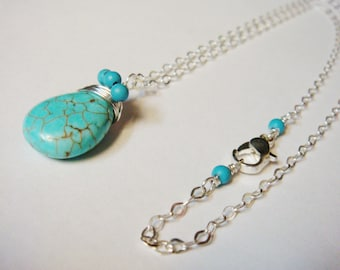 Sterling silver Necklace  Sterling Silver Charms  Necklace Sterling Silver  Sterling Silver Chains Turquoise Necklace Jewelry  Blue
