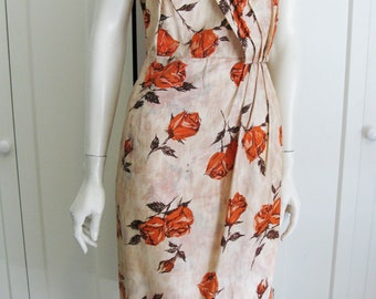 """Vintage 40'S - 50's Novelty Print Rose Faux Wrap Dress - Waist 31"""""""
