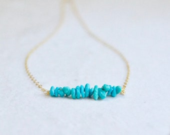 14k solid gold : Turquoise beaded necklace