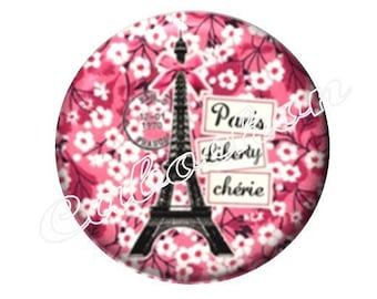 2 cabochons 20mm glass, Paris Eiffel Tower, pink tone