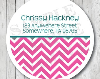 Personalized Return Address Labels, Chevron Address Stickers, Chevron Address Labels