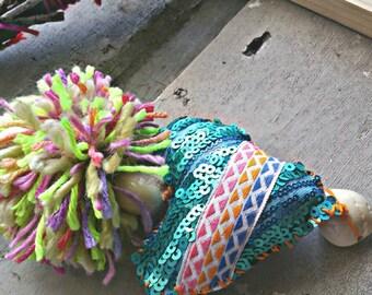 hippie necklace,  pom pom necklace, neon heart jewelry, festival jewelry, gypsy necklace, boho jewelry, sequin necklace, turquoise necklace