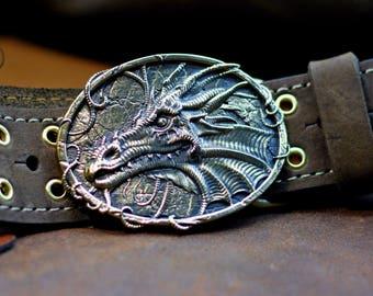 "Steampunk Leather belt with brass buckle ""Bronze Dragon"""
