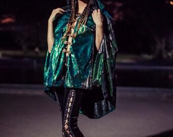 Color Changing Sequin Cape- Multiple Colors-  Mermaid Burning Man Festival Coat