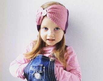 Girl pink and purple headband, turban, ear warmer headband