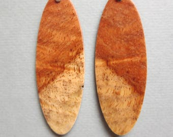 Unique Afzelia Burl Lightweight Drop Earrings Exotic Wood ExoticWoodJewelryAnd handcrafted ecofriendly