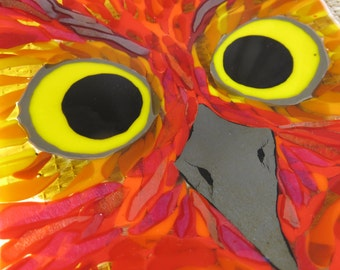 Great Horned Owl Fused Glass Plate
