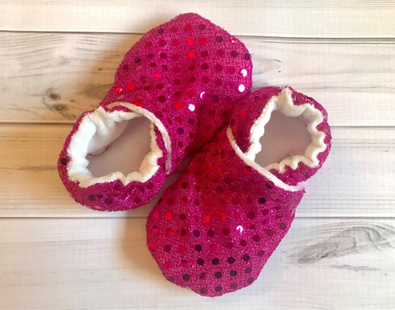b178200d362b Pink sparkle Baby shoes sequin booties custom size preemie