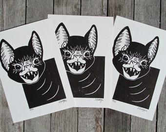 Echo, Bat Linocut Relief Printmaking Hand Printed Handmade