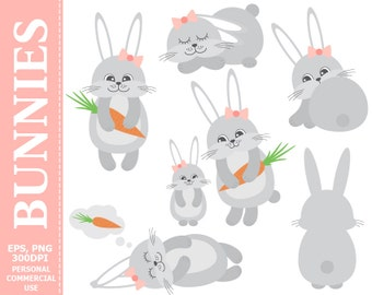 Digital Bunnies Clip Art - Rabbits, Carrot, Cartoon, Pastel, Baby, Hare Clip Art