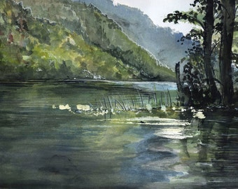 Echo Lake, Watercolor Landscape Painting British Columbia - Photo Print