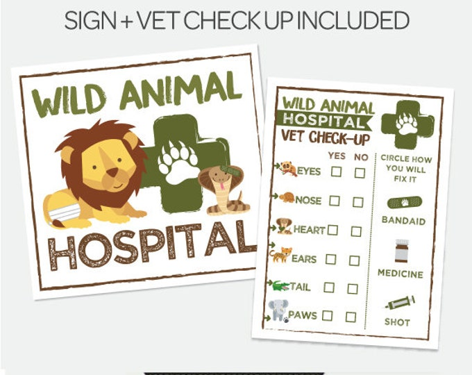Wild Animal Hospital, Vet check up, Safari Birthday Party, Jungle Birthday, Adopt a pet Party, Safari Printable Sign,  Instant download