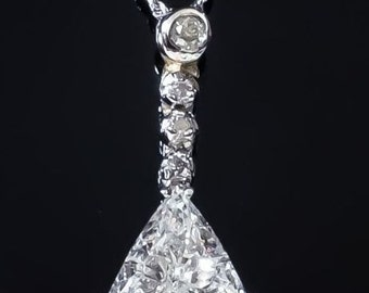 "NEW Shimmering Glamorous 14K White Gold Women's GIA 3.29ctw Natural Trillion Diamond Pendant & 18"" Necklace - 5.4 grams"