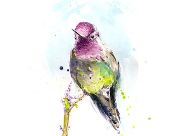 HUMMINGBIRD ARTWORK - hummingbird watercolor bird painting, bird wall art, pink bird, bird artwork, bird decor, bird gift, bird lover