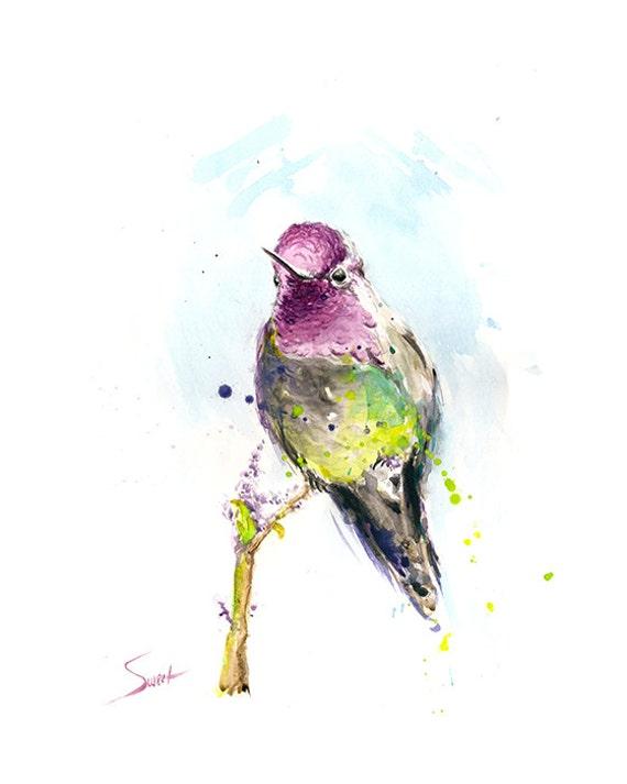 hummingbird artwork hummingbird watercolor bird painting