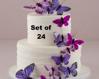Wedding Cake Topper Pink Butterfly Cake Set Weddings