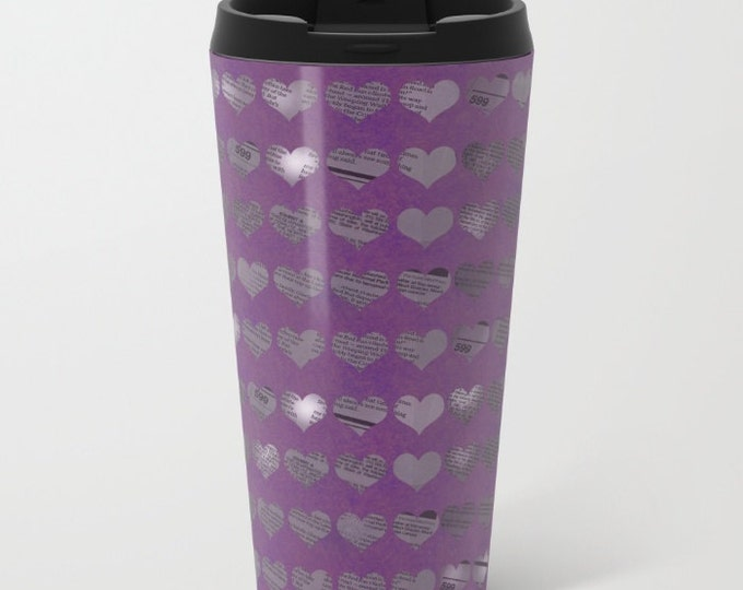 Purple Newspaper Heart Travel Mug Metal - Coffee Travel Mug - Hot or Cold Travel Mug - 20oz Mug - Stainless Steel - Made to Order