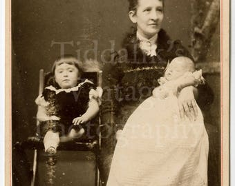 Cabinet Card Photo - Victorian Seated Mother with Baby and Daughter Family Portrait - O C Smith of Stroud England - Antique Photograph