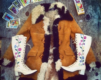 70s Vintage Multi Color Shearling Suede Afghan Penny Lane Almost Famous Fur Coat Jacket Small