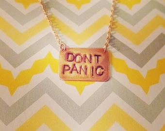 Don't Panic Necklace, Hitchhiker's Guide to the Galaxy, Douglas Adams