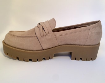 Beige Chunky Suede Loafers