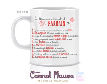 "Red MUG ""the 10 commandments"" GODFATHER gift"