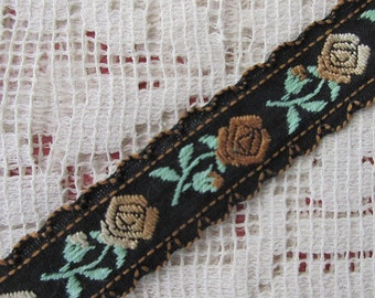3 Yards Vintage West Germany Fancy Roses Jacquard Trim Ribbon 5/8th Inch Wide Black Mint Browns  VT 165