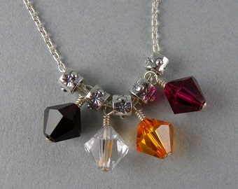 Custom Swarovski Personalized Mother's Heirloom Necklace with Free USA Shipping