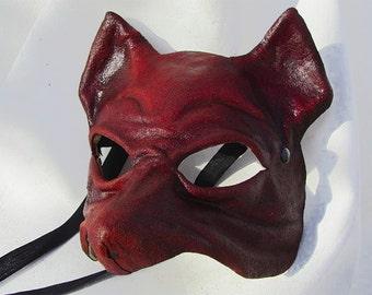 Little fox mask dark red leather costume cosplay larp renaissance wicca pagan magic burning man fantasy