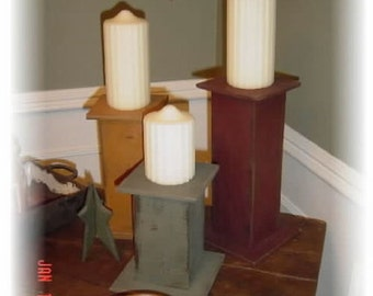 Set of three Primitive Chunky Candle Stands