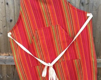 Handmade Striped Cotton Apron, Upcycled Tablecloth, Repurpose