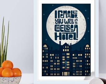 Leonard Cohen Chelsea Hotel No. 2 Inspired Music Art Print