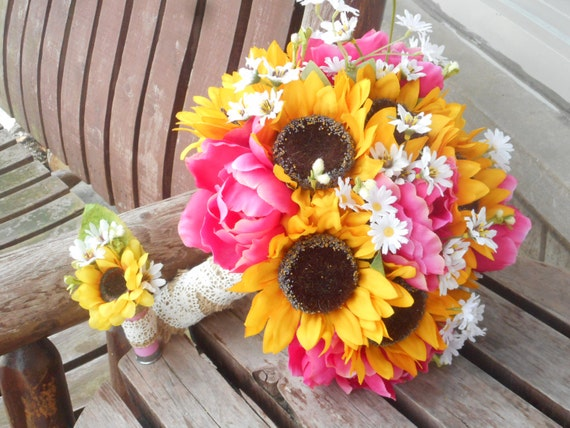 Sunflower And Pink Peony Silk Bridal Bouquet / Rustic Wedding