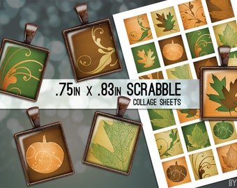 Fall Leaves Autumn Pumpkins Collage Sheet Scrabble Tile Images .75x.83 on 4x6 and 8.5x11 Download Sheets for Glass Resin Pendants E0037