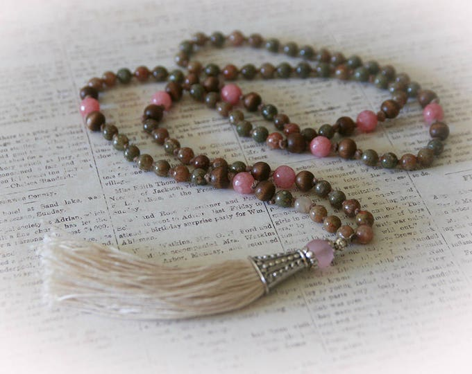 Pink Jasper Tassel Necklace. Bohemian Style Gemstone Hand-Knotted Necklace with Ivory Tassel