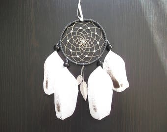 Dream catcher (dreamcatcher) turquoise, white and black with silver metal pendant