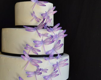 Wedding Cake Topper Edible Dragonflies - Assorted Purple- Cake and Cupcake toppers - set of 30