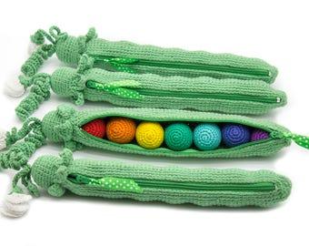Rainbow crocheted peas, Developing toy, Montessori toys, eco-friendly Baby toys 1 Pcs - MiniMom's -
