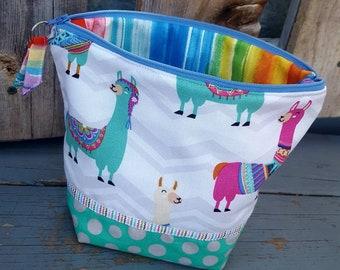 Llama Cosmetic Bag, Llama Travel Bag, Purse Organizer, Alpaca Makeup Bag, Cash Bag, Fabric Zipper Bag, Zippered Makeup Bag