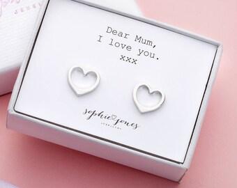 Love you Mum Silver Heart Earrings - gift for mum - silver heart earrings - mothers day gift - mum birthday - best mum