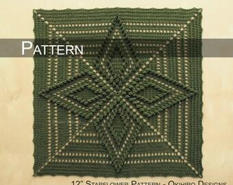 "PATTERN - Starflower Pattern - 12"" Crochet Square"