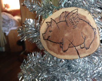 Flying Pig Cedar Wood Ornament